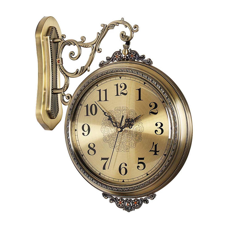 現代の装飾的な壁掛け時計、レトロサイレントステーション両面壁掛け時計、ヨーロッパの高級クリエイティブリビングルームホームファッションパーソナリティ時計360°回転壁の装飾 B07TTMZX5X