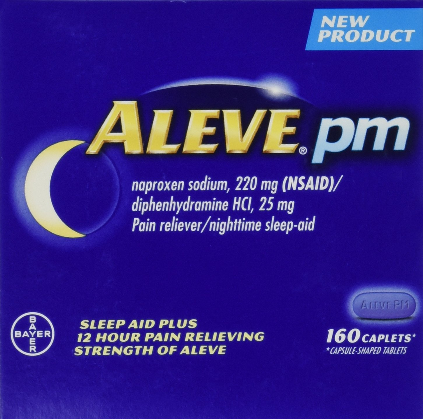 Aleve PM 160 Caplets Total Naproxen Sodium 220mg NSAID / Diphenhydramine 25 mg (Nighttime Sleep-Aid) Total 2 Bottles Each Bottle Contains 80 Pills by Bayer