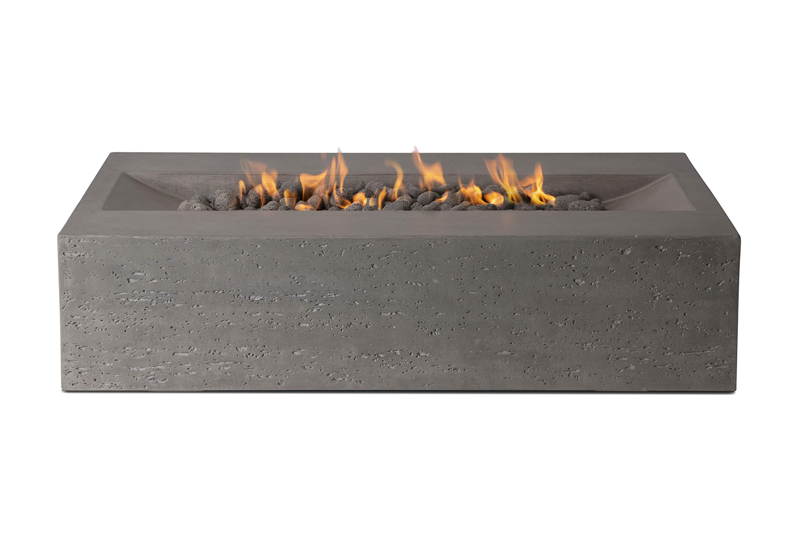 Pyromania Millenia Outdoor Fire Pit Table. Hand Crafted from Concrete. 60,000 BTU Stainless Steel Burner with Electronic Ignition - Natural Gas, Slate Color (Lava Rock Included) by Pyromania