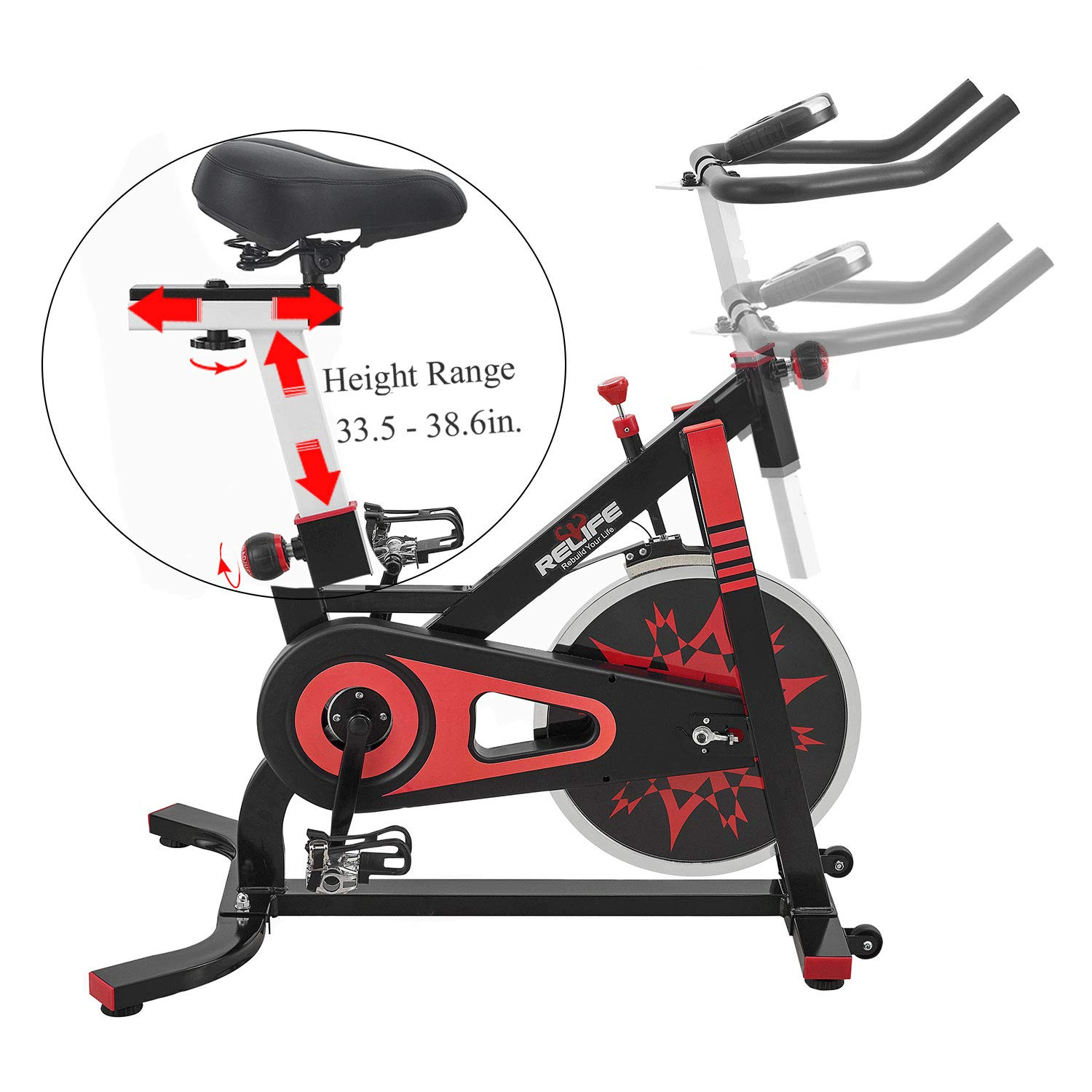 RELIFE REBUILD YOUR LIFE Spin Bike Stationary Indoor Cycling Gym Resistance Workout Home Gym Fitness Machine Exercise Bike by RELIFE REBUILD YOUR LIFE (Image #5)