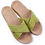 Huluwa Linen Slippers, Unisex Summer Skidproof Indoor Couples Home Outdoor Beach Sandals