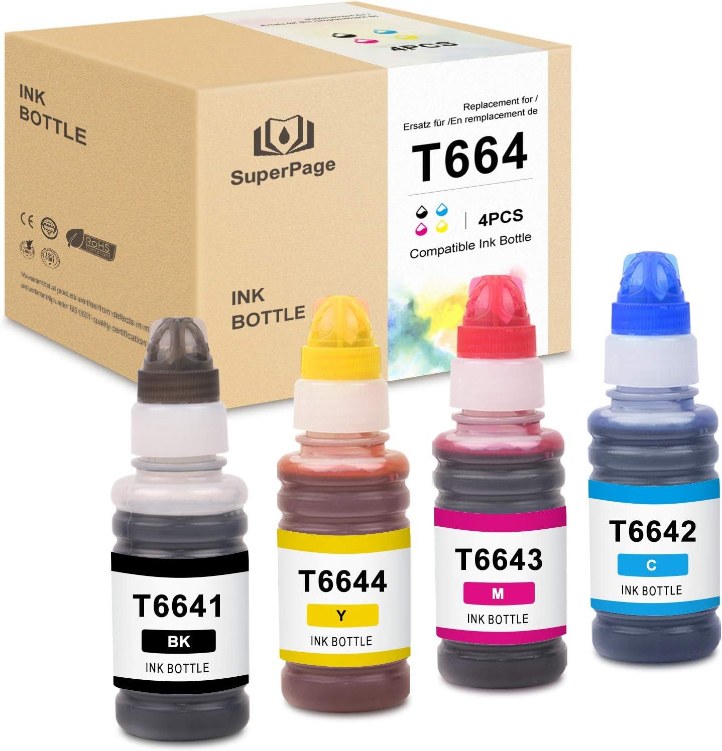 4 Superpage Epson 664 T6641-T6644 Tinte para Epson EcoTank ET-2650 L300 L350 L355 L365 L455 L550 L555 L565 L100 L200 ET2550 ET2500 ET4500, Negro Cian ...