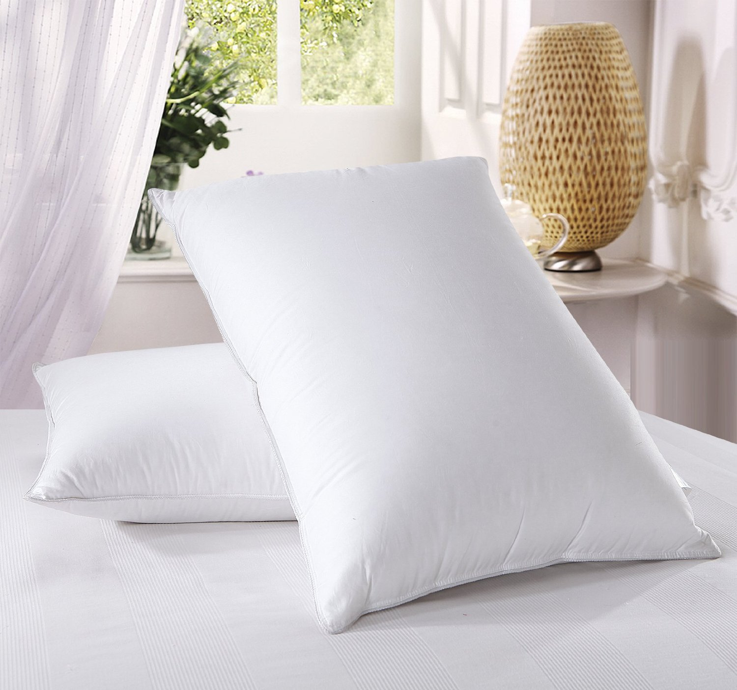 Royal Hotel's Down Pillow - 500 Thread Count 100% Cotton , Standard / Queen Size, Firm, Set of 2