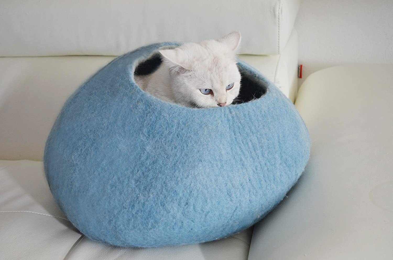 Casa cama Sofá para gatos perros pequeño cama mascota habitacion / gato cama / gato cueva -100% lana de oveja natural - hecho en Nepal - Azul: Amazon.es: ...