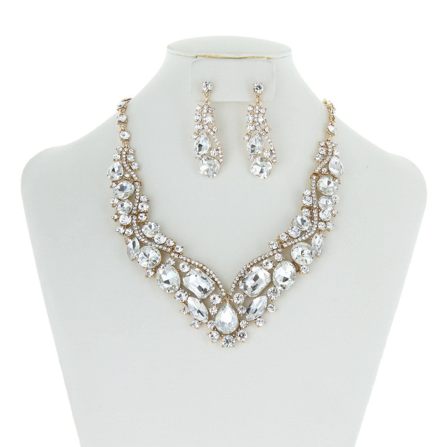 SP Sophia Collection Women's Wedding Bridal Austrian Crystal Necklace and Earrings Jewelry Set in Gold