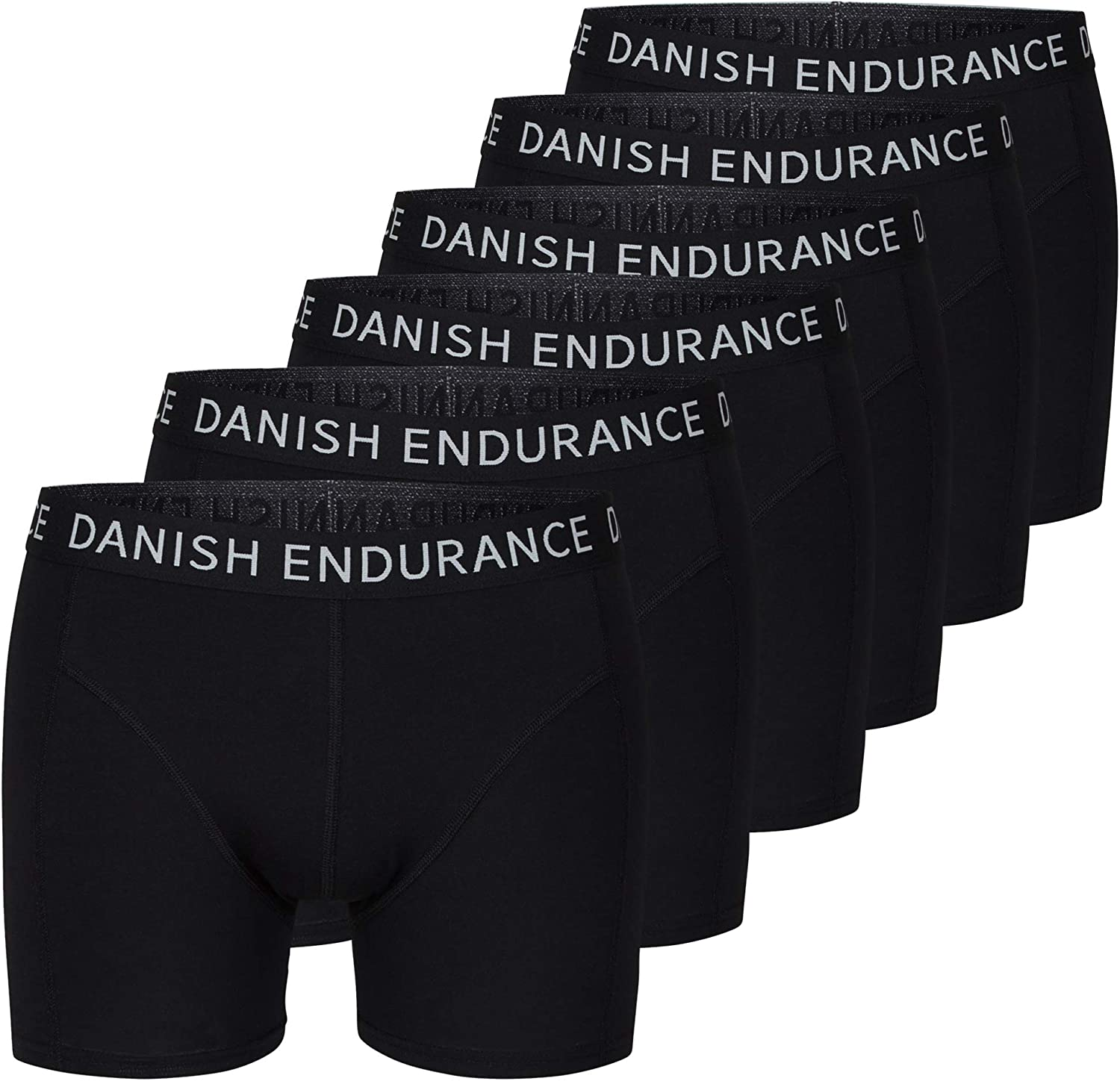 DANISH ENDURANCE Men's Trunks 6-Pack, Stretchy Soft Cotton, Classic Fit Underwear, Boxer Shorts, Superior Comfort