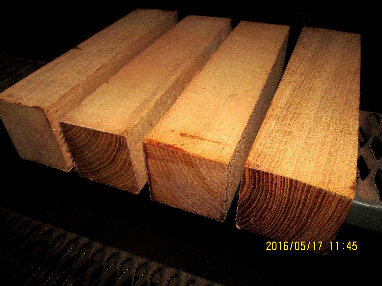 Four (4) Black Locust Turning Blanks Lathe Turning Block Lumber 3 X 3 X 12''