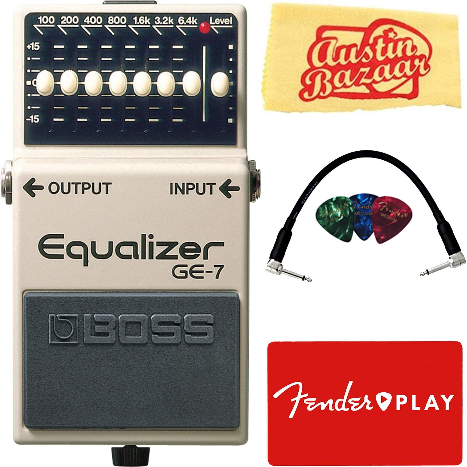BOSS GE-7 Equalizer Pedal Bundle with Patch Cable, Picks, Fender Play Trial, and Austin Bazaar Polishing Cloth