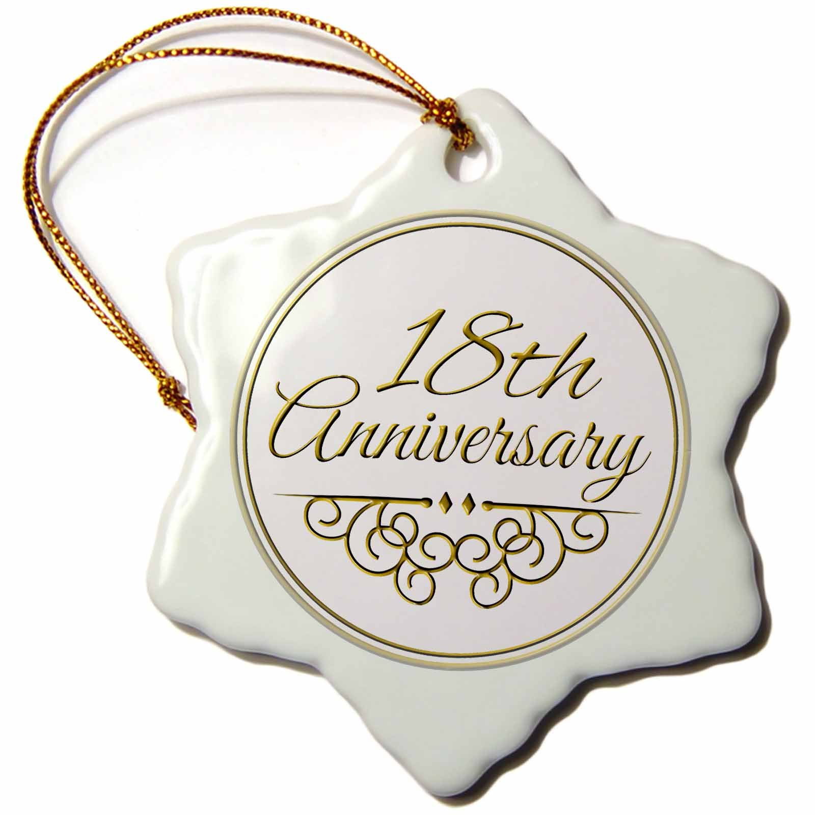 3dRose orn_154460_1 18th Gold Text for Celebrating Wedding Anniversaries Snowflake Porcelain Ornament, 3-Inch