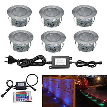 Amazing LED Bodeneinbaustrahler RGB 6er Set Boden Lampe Ø45mm 12V IP67 Wasserdicht  LED Außen Veränderbare Lichter Terrasse