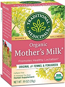 Traditional Medicinals Organic Mother's Milk Pre & Postnatal Tea, 16 Tea Bags (Pack of 1)