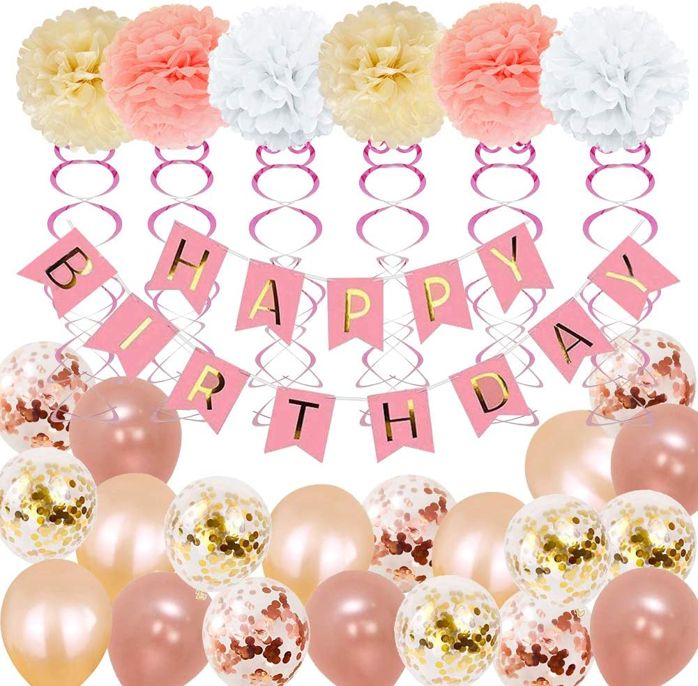 Birthday Decorations, Birthday Party Supplies for girl and women include 52Pcs Banners Rose Gold Balloons for 18th 19th 20th 21st 22nd 24th 25th 30th 40th 45th 50th 60th 70th Party Supplies