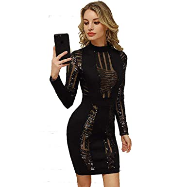 Eycebruee Sequined Long Sleeve Above Knee Bandage Dress Celebrity Party Vestidos