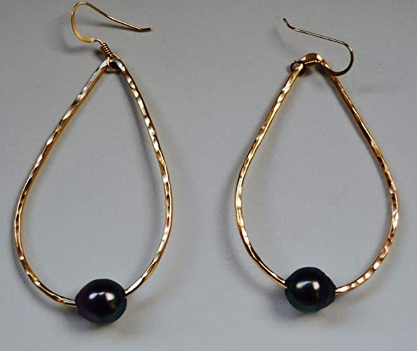 897eccfde Amazon.com: Elegant Tahitian Pearl 14K Gold Filled Teardrop Earrings Made  in Hawaii: Handmade
