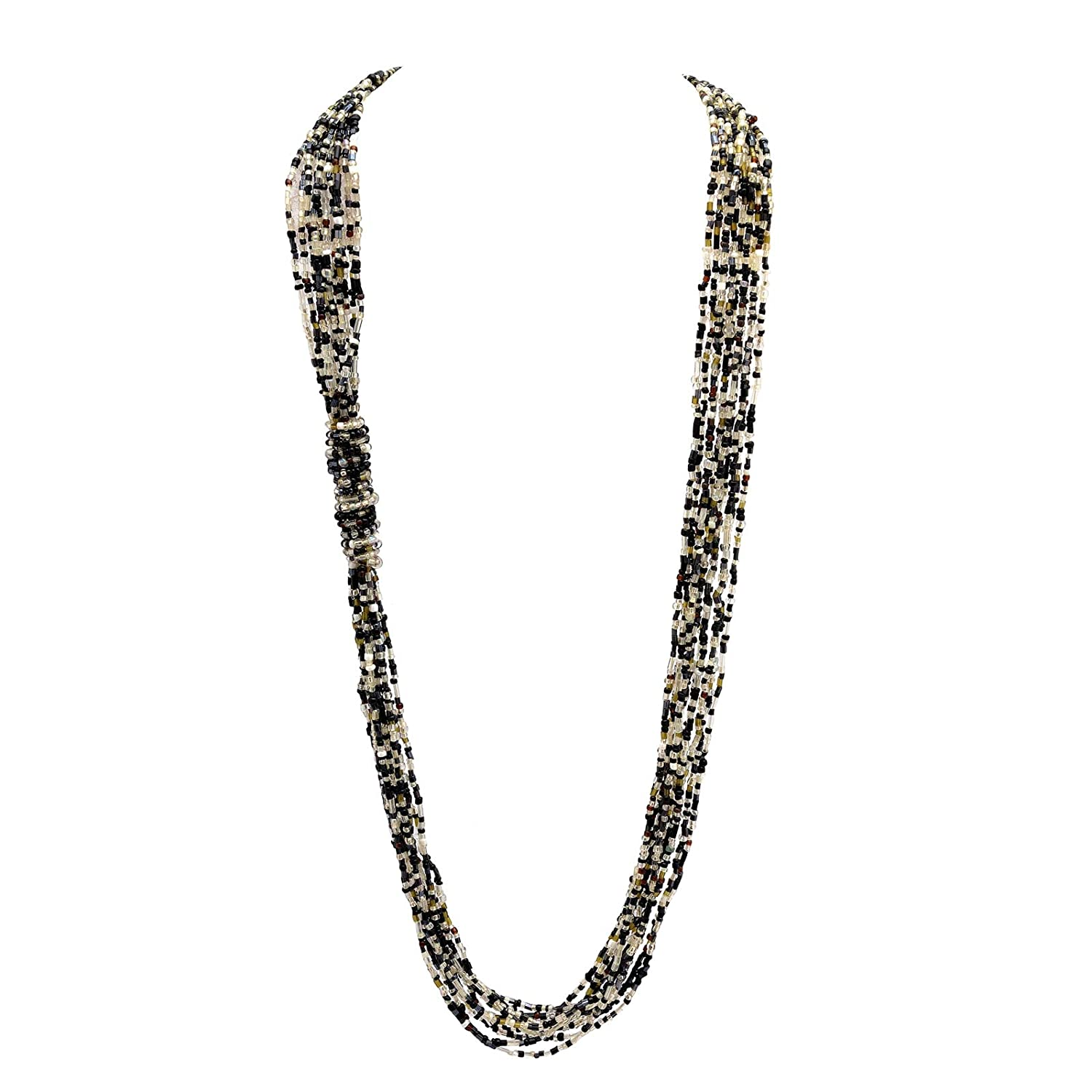 Zephyrr Fashion Jewellery Multi Strand Necklace White & Black Glass Beaded Contemporary Old India JAN-1686