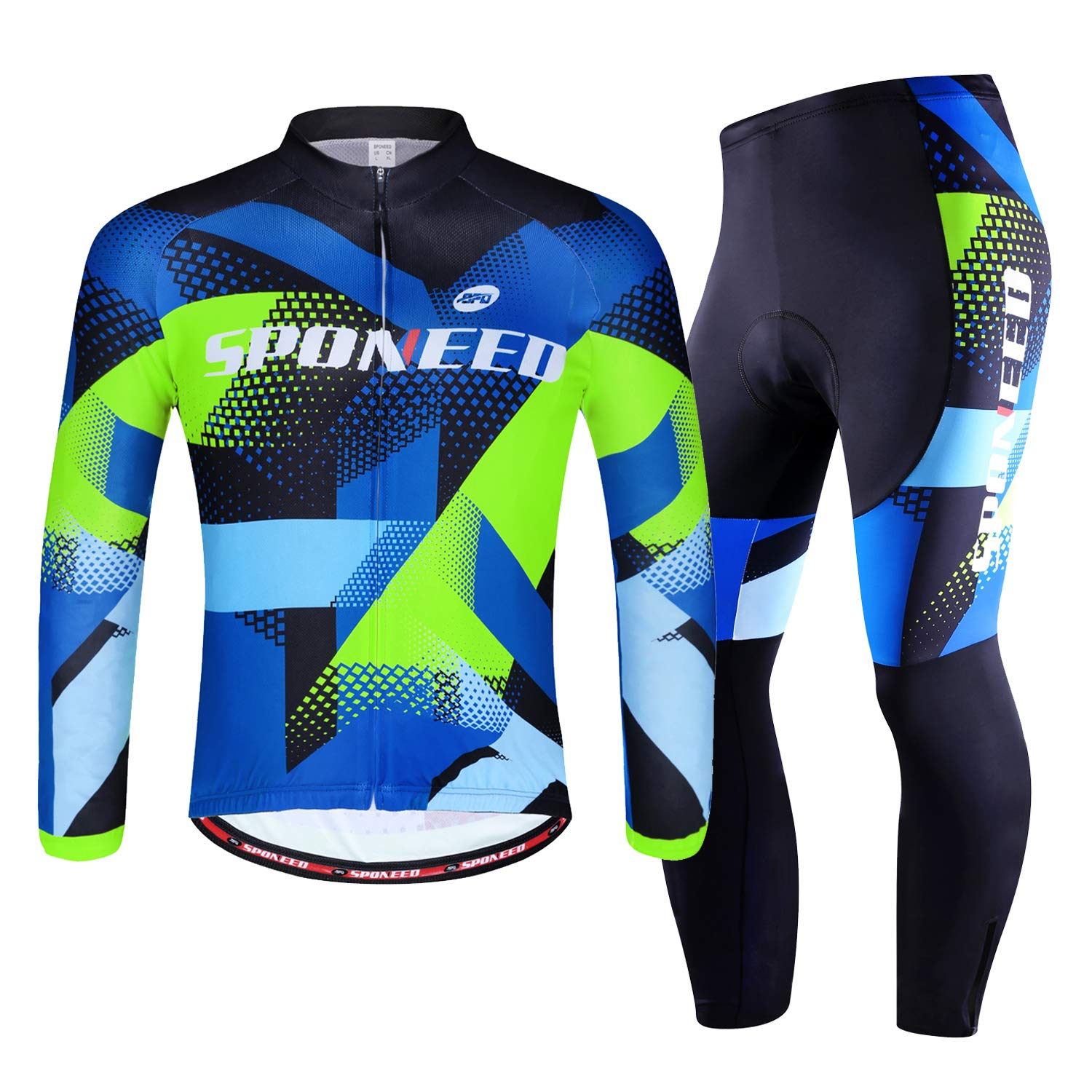 sponeed Cycling Clothes for Men Long Sleeve Mountain Bike Road Bicycle  Shirt Jeresys Pants Padded Bike Jakcet Outfit 4f4dd8a16