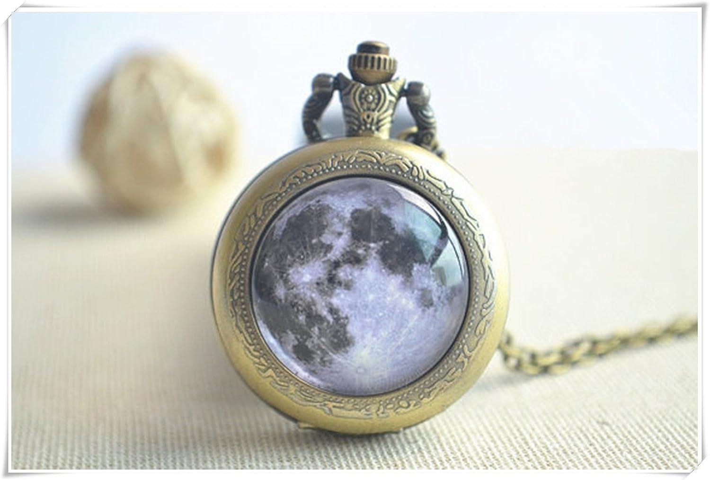 D/ôme en Verre Bijoux Espace Pendentif JUN Montre de la Pleine Lune Steampunk Galaxy Montre Collier Pure Fait /à la Main.
