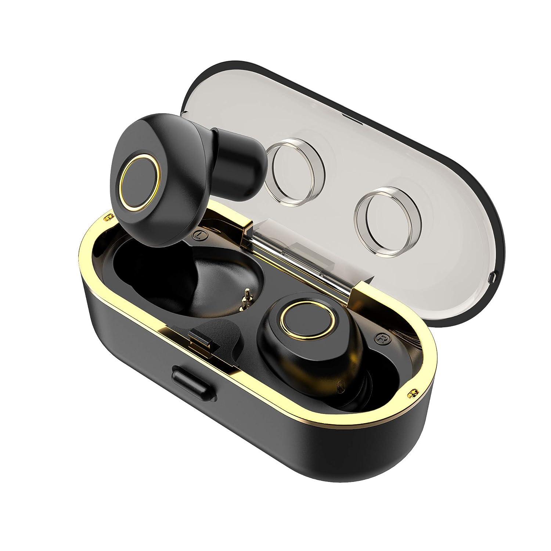 LYKOUG True Wireless Earbuds, Bluetooth Earbuds, Wireless Bluetooth Headphones for Workout Deep Bass, Sweatproof, with Charging Case, Black-Golden