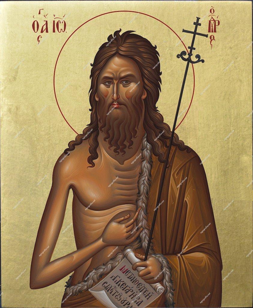 St. John the Baptist   Byzantine Christian Orthodox Icon on Wood