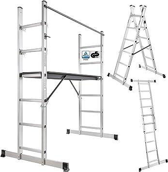 Arebos – Andamio de/3 en 1 – Andamio caballete, escalera o Escalera/Soporta hasta 150 kg/certificación GS, en 131: Amazon.es: Bricolaje y herramientas