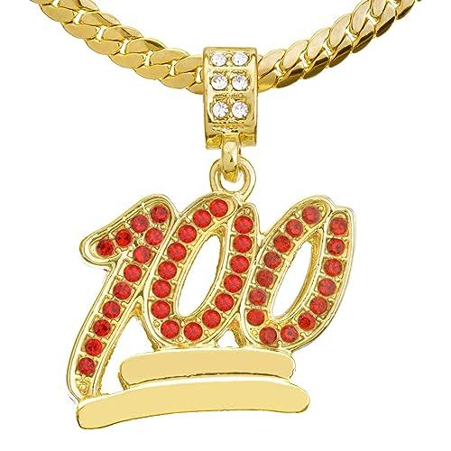 9052b5df19bf7 Men's Gold Plated Red CZ 100 Emoji Pendant 20