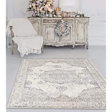 4678 Distressed Ivory 8 x 10 Area Rug Carpet Large New