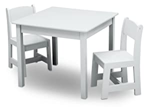 Delta Children MySize Kids Wood Chair Set and Table (2 Chairs Included), Bianca White