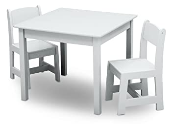 Delta Children Painted Wooden Childs Table and Chair Set White