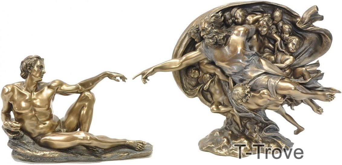 T-Trove Cold Cast Bronze Creation of Adam Statue Figurine