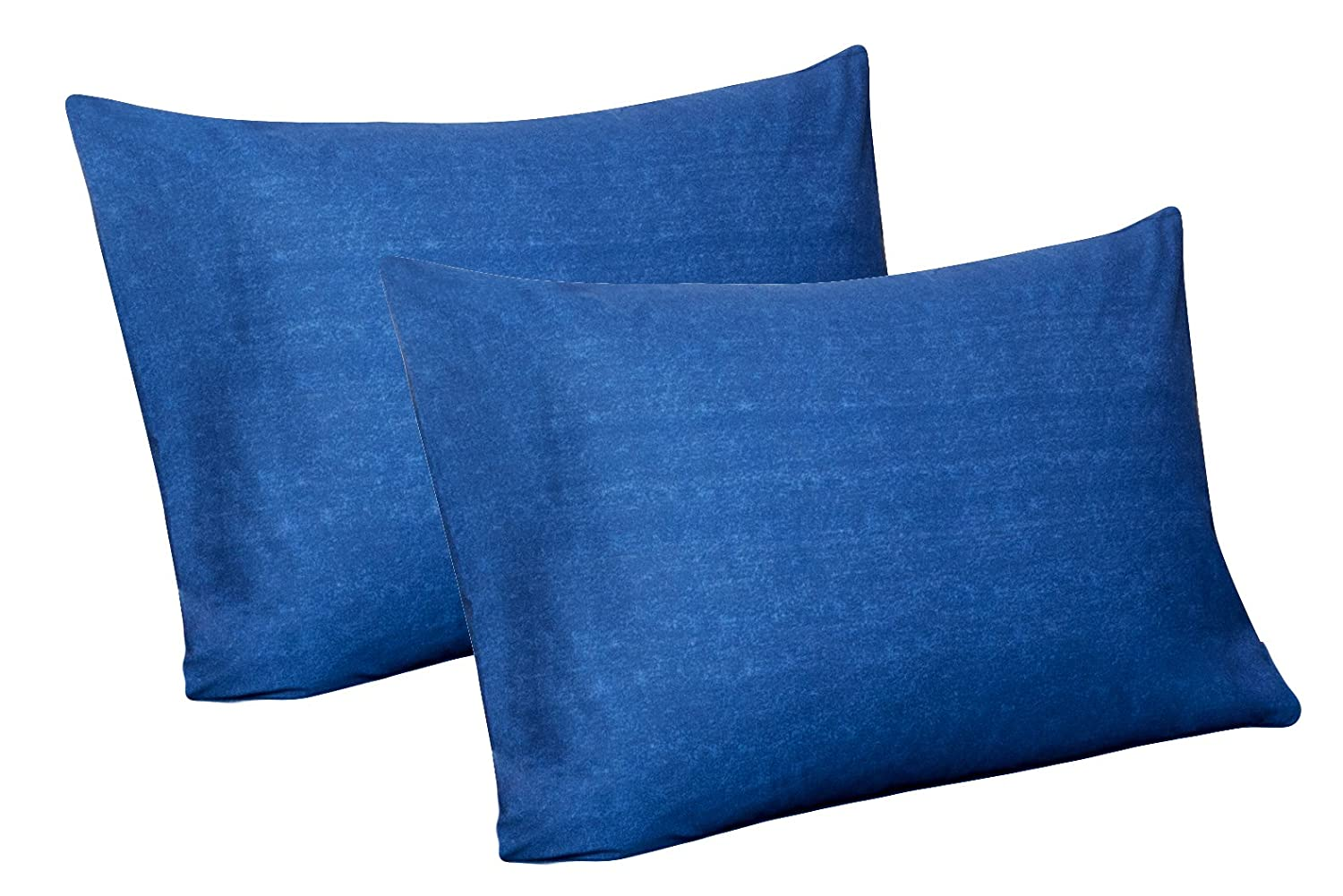 100% Jersey Knit Cotton, 2 Standard Pillow Case (Denim Blue)