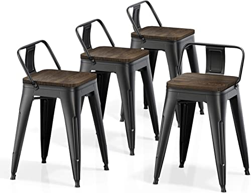 VIPEK 18 Inches Metal Dining Chair Stools with Solid Wood Top Seats Set of 4 Low Back Industrial Vintage Side Metal Chairs Bistro Cafe Kitchen Restaurant Patio, Matte Black