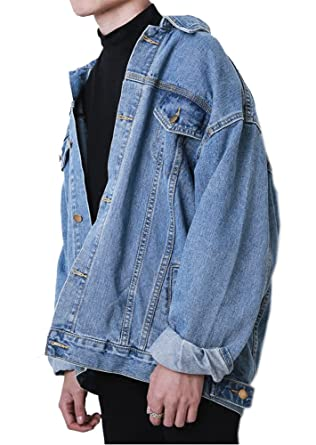 665f2561c38e4 Hotmiss Men Oversize Denim Jacket Trucker Jean Coat Light Blue XL (X-Small)
