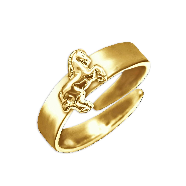 CLEVER SCHMUCK Vergoldeter Kinderring Universalgröße mit springendem Pferd glänzend STERLING SILBER 925 gold-plattiert krs100-verg_925