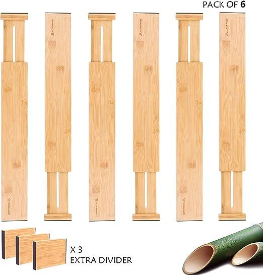 Bathroom Set of 4 Dresser and Desk. Bamboo Drawer Dividers Kitchen Organizer Bedroom Spring Adjustable /& Expendable Baby Drawer Best for Kitchen