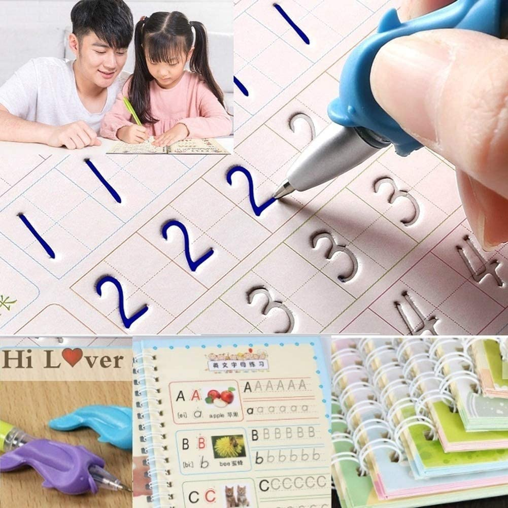 Number and Shapes Workbook for Kids Pens Mathematics Numbers Magic Writing Paste Childrens Kindergarten Grooves Post Before School Handwriting Alphabet English Drawing