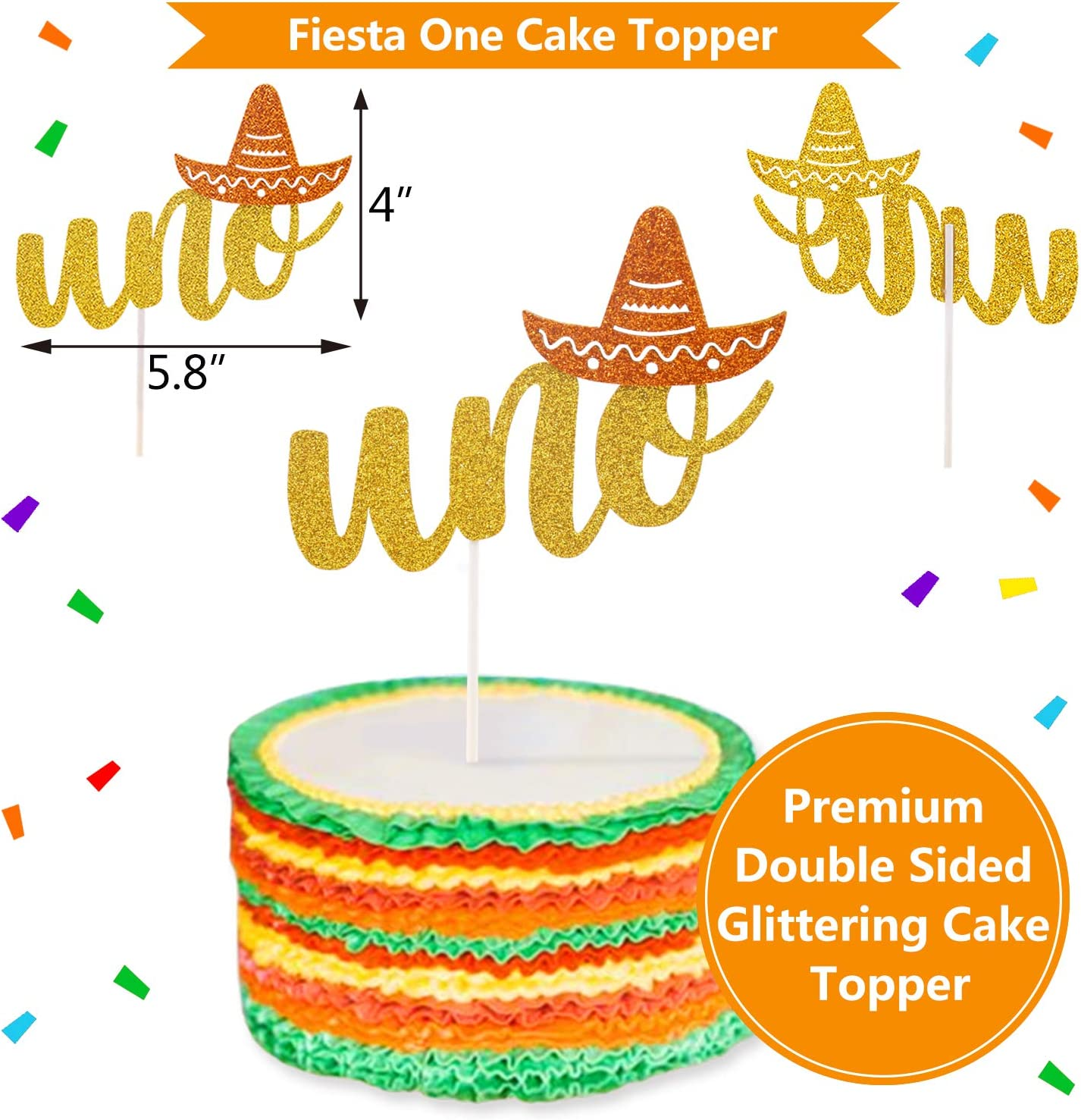 Uno Mexican Fiesta Party Decor 1st birthday party Double Sided Table Centerpiece