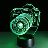 3D Lamp Camera Gift Acrylic Table Night light Furniture Decorative colorful 7 color change household Home desk Accessories