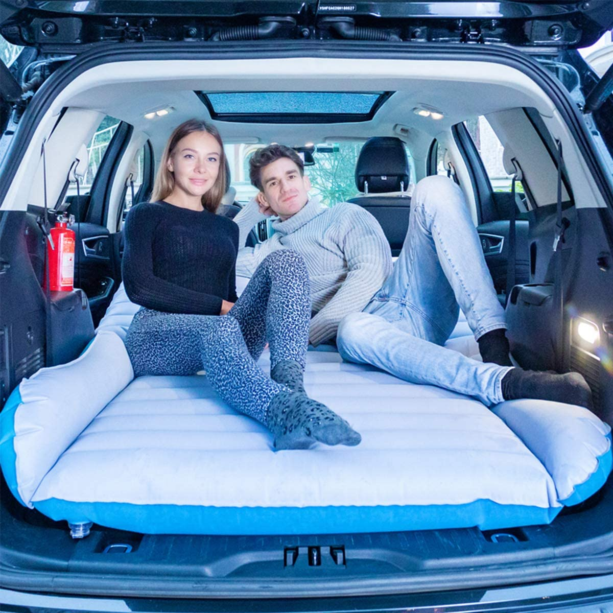 Camping QISE Matelas pneumatique de Voiture SUV Matelas de Camping Mobile Matelas de Voiture de Flocage Double Face avec Pompe pour Matelas de Voiture Lit Gonflable pour lit Gonflable pour Voyage