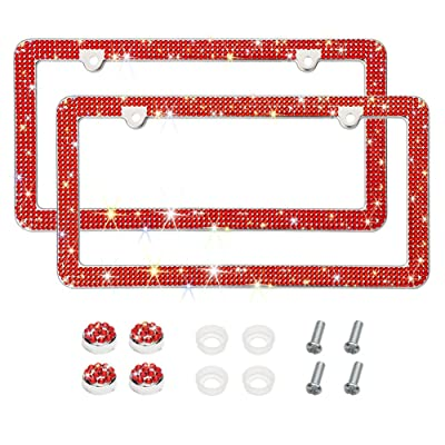 Otostar Bling Crystal Car License Plate Frame, Handmade Finest 14 Facets SS20 Diamond Stainless Steel License Plate Holder Cover - 2 Pack (Red 4 Rows 2 Holes): Automotive