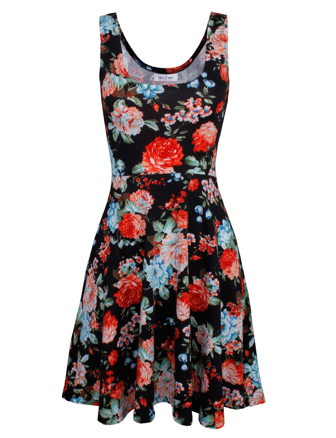 Tom's Ware Womens Casual Fit and Flare Floral Sleeveless Dress TWCWD054-BLACK-US M