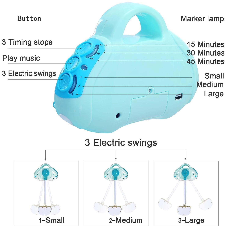 SANPLO Culla elettrica Culla per neonati Culla per culla automatica Culla per neonati a dondolo multifunzione Culla per neonati blu
