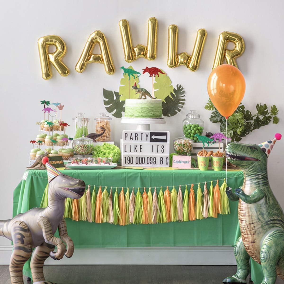 Gold Glitter Dinosaur Cupcake Toppers