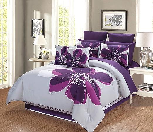 Amazon Com Grandlinen 12 Piece Grey Purple Dark Purple Floral