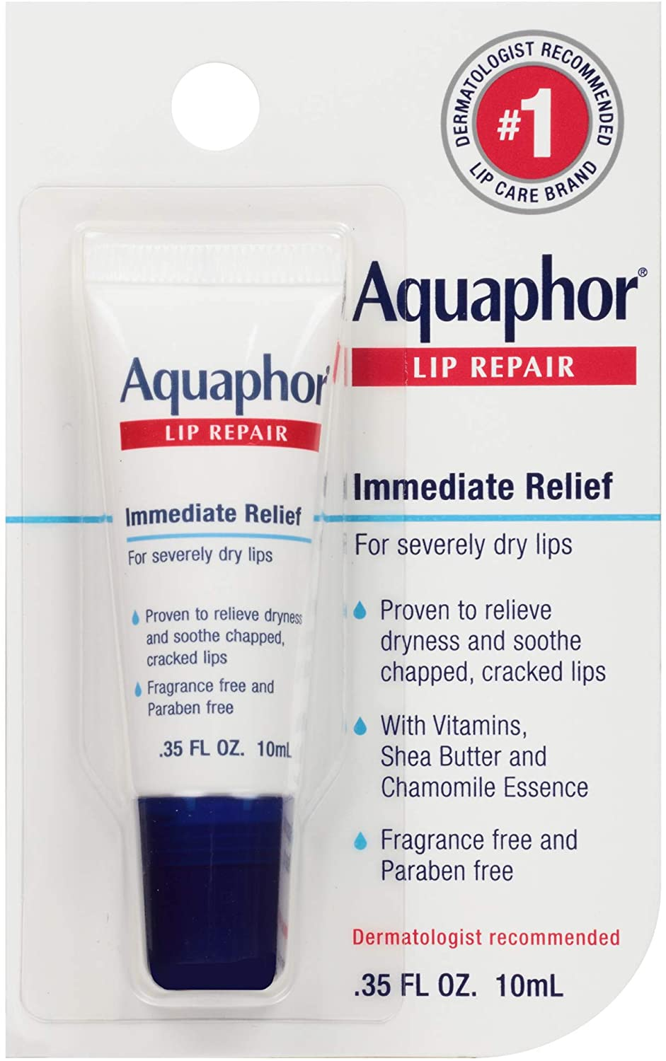 Aquaphor Lip Repair Ointment - Long-lasting Moisture to Soothe Dry Chapped Lips Tube, 0.35 Fl Oz (Pack of 1) : Beauty