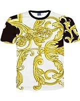 FaPlus Men's Casual Golden Flower 3D Print Fashion T-Shirts