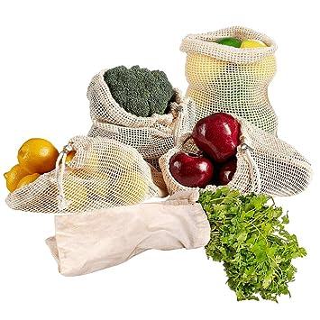 KINDPMA 5 Piezas Bolsas de Vegetales Reutilizables de Algodón Ecológicas Bolsas de Frutas Malla Transpirables para Compra Productos Frescos 1 Pequeño ...