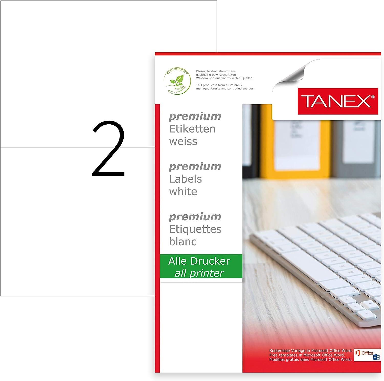 TANEX TW-2102 Versand- // Palettenetiketten selbstklebend wei/ß 210 x 148,5 mm bedruckbar 500 Blatt DIN A4 1000 Etiketten