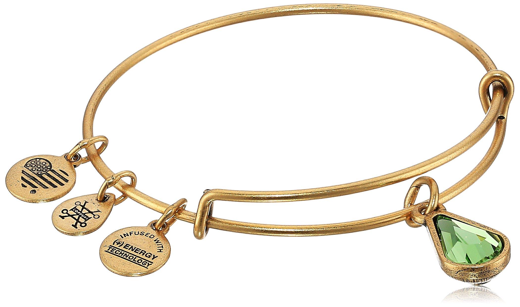 Alex and Ani August Birth Month Charm with Swarovski Crystal Rafaelian Gold Bangle Bracelet