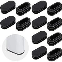 Pulluo 100 Piezas Tapas Oval de Plástico para Tuberías Negro Tapones Para Tubos 40 MM de Largo y 20 MM de Ancho Tapones…