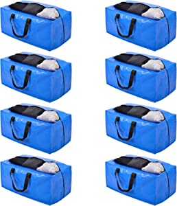 Moving Bags, Storage Totes, Extra Large Storage Bags for Moving Supplies, College Dorm Essentials, Bedroom Closet, Packing Bags with Backpack Handles Zipper Compatible with IKEA Frakta Cart(8 Pack)